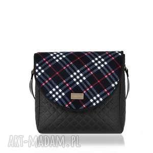 torebki torebka puro 1269 blue grid 2, pikowana, klapkomania, rękodzieło, kolorowa