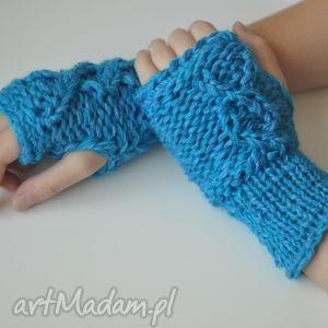 rękawiczki mitenki - rękawiczki, mitenki, prezent, ocieplacze, turkusowe