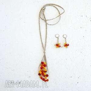 indian summer komplet biżuterii, biżuterii koral, biżuteria lniana