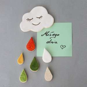 hand-made magnesy chmurka i krople-magnesy ceramika