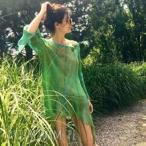 transparentna lniana luźna bluzka w zieleniach, bluzka, tunika, len, wizytowa