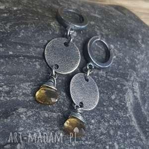 kolczyki ze srebra z kwarcem lemon, wiszące, kwarc srebro oksydowane