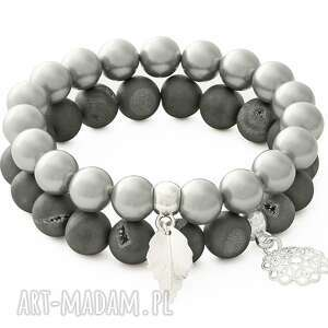 gray mat agate & silver pearl with pendants - perła, kwiatek