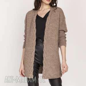 swetry ciepły sweter - kardigan, swe127 mocca, sweter, wyjściowy