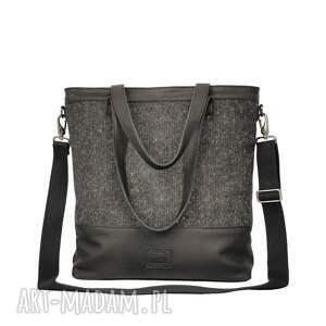 ręcznie zrobione torebki duża czarna torba z matowej skóry z tkaniną