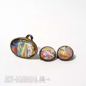 klipsy komplet - i pierścionek kolorowy, antyczny brąz