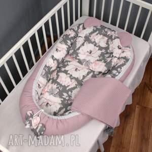 hand made dla dziecka wafelek zestaw niemowlęcy 3 el. Peonie szare