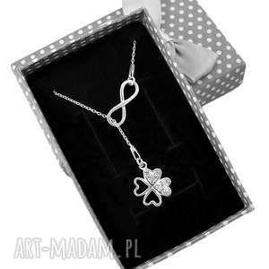 Srebrny naszyjnik krawat Y nieskończoność koniczyna pudełko, naszyjnik, srebrny