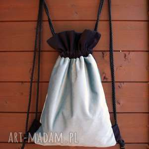 bbag blackblue plecak worek, plecak, aksamitny, welurowy, falbanka