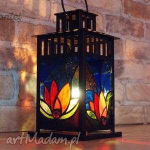 latarnia witrażowa lilie, latarnia, lampion, świecznik, witraż, dom