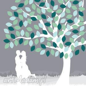 Drzewo wpisów pary zakochanych ślub wesele - Format A2, księga, gości, plakat