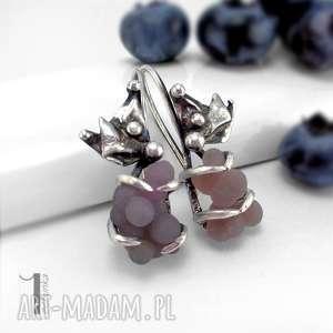 bilberry srebrne kolczyki z chalcedonem winogronowym - metaloplastyka, długie