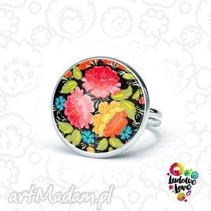 pierścionek ludowy bukiet, folk, polskie, tradycje, łowickie, wycinanki, kwiaty
