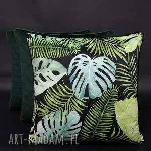 ręcznie zrobione poduszki komplet 3 poduszek welur liść pikowany zieleń