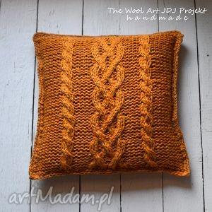 poduszki dziergana poszewka na poduszkę, poduszka, poszewka, wełniana, pomarańczowa