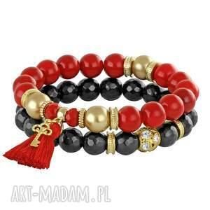 red carbon , jadeit, chwost, kluczyk bransoletki biżuteria