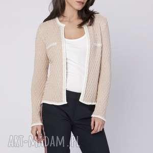 swetry klasyczny kardigan, swe149 beżowy, sweter, klasyczny, kardigan