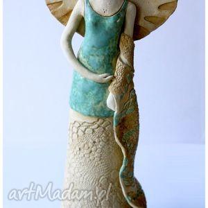 Dama z szalem, ceramika, anioł, rzeźba, figurka