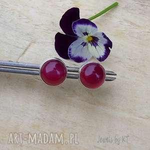 czerwone kropki agatu, srebrna biżuteria, srebrne kolczyki, kolczyki sztyfty