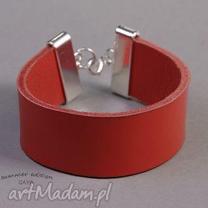 gaya summeredition lea red, skóra, pas, posrebrzane, minimalistyczna, prezent