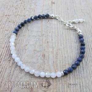 kamień księżycowy z szafirem - bransoletka, bransoletka srebrna