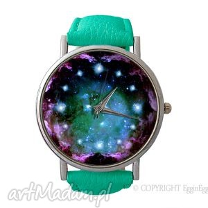turkusowy kosmos - skórzany zegarek z dużą tarczą - zegarek, skórzany