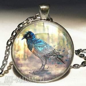 mechaniczny ptak - duży medalion z łańcuszkiem - medalion, duży