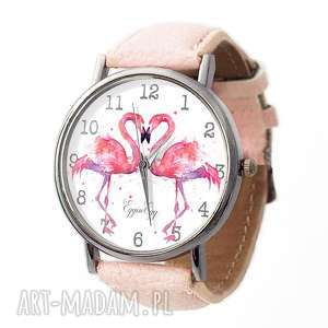 Flamingi - Skórzany zegarek z dużą tarczą, zegarek, flamingi, flaming, pastelowy