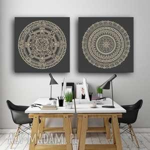 Zestaw 2 prac 50x50cm, plakat, zestaw, grafika, obraz, mandala