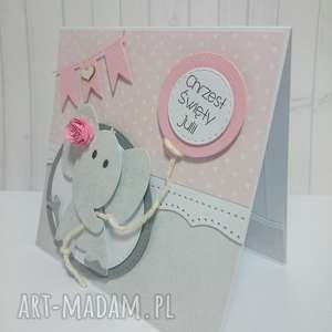 kartka zaproszenie z różowym słonikiem - słonik, zaproszenie, pamiatka