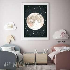 księżyc a3, moon, księżyc, noc, plakat, ilustracja, dziecko, prezent na święta