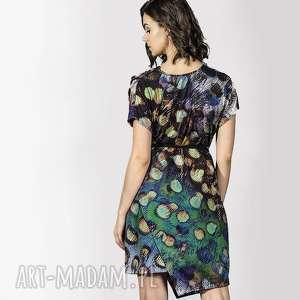 sukienki sukienka z wodą, sukienka, woda, paw, asymetria, wzór, dzianina, oryginalny