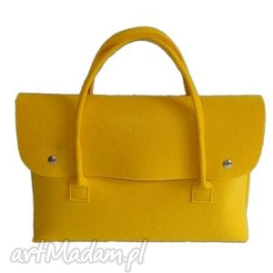 ręcznie robione e-felt - torba, etui na laptopa lub tablet żółta