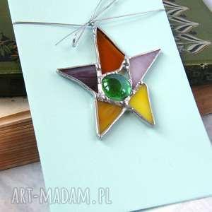kartki kartka świąteczna 3d z witrażową gwiazdką kolorową, na życzenia