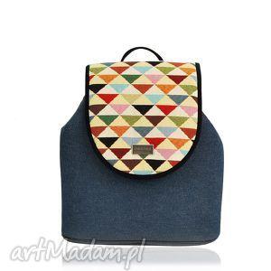 plecak damski puro 790, wymienne, klapki, puro, trójkąty, jeansowy, pakowny