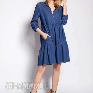 sukienka z falbankami, suk180 jeans, luźna, cieńka, mini, guziczki