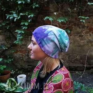 Czapka damska ręcznie farbowana wiosenna czapki ruda klara