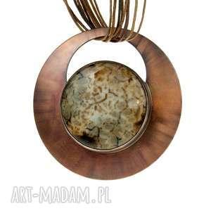 Prezent Agatowe krajobrazy naszyjnik z miedzi c609, biżuteria-z-agatem