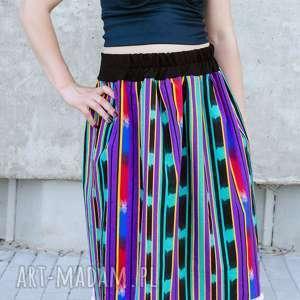 bawełniana spódnica z pomponami, afryka, etno, folk, nadruk, pompony, kolorowa