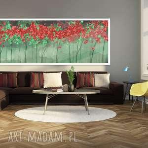 nowoczesny obraz drukowany na płótnie z drzewami w zieleni, abstrakcyjne drzewa