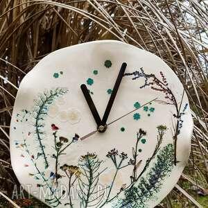 zegary zegaz ceramiczny kwiaty polne, zegar, zegar na ścianę, handmade