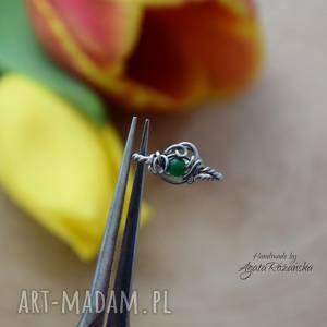 pierścionek regulowany jadeit, wire wrapping, stal chirurgiczna