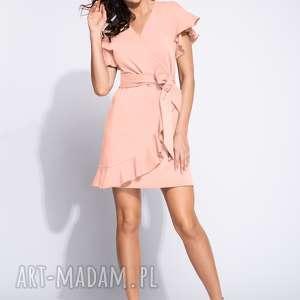 różowa letnia sukienka z falbankami, dzienna, letnia, midi, kopertowa sukienki