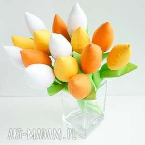 tulipany szyte bukiet kwiatów - bawełniane, flowers, kwiaty