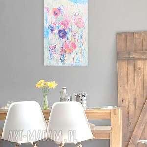 annasko impresja obraz, pastelowe kolory łąka abstrakcja, obraz