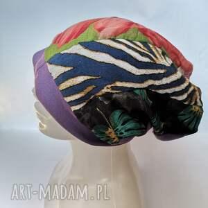 handmade czapki czapka patchworkowa na podszewce rozmiar uniwersalny dla 59 -61cm