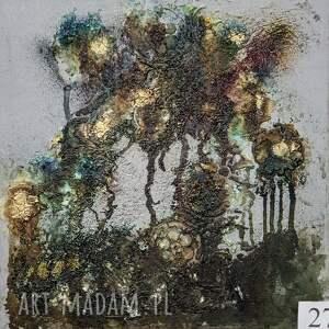 zielone drzewa, obraz, abstrakcja, nowoczesny, sztuka, salon