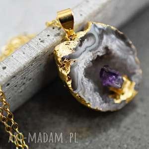 AGAT acany łańcuszek , agat, amentyst, kamień, naszyjnik, pozłacany, złoty
