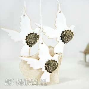 3 ceramiczne ptaszki choinkowe - styl skandynawski, białe bombki