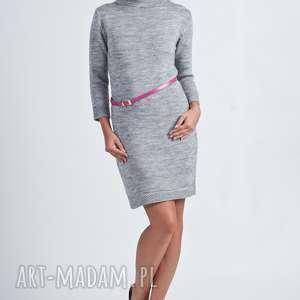 hand made swetry prosta sukienka z dzianiny, suk001 szary mkm